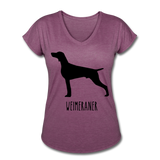 Weimeraner Women's Tri-Blend V-Neck T-Shirt - heather plum