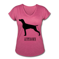 Weimeraner Women's Tri-Blend V-Neck T-Shirt - heather raspberry