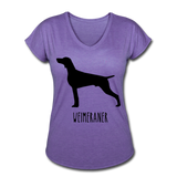 Weimeraner Women's Tri-Blend V-Neck T-Shirt - purple heather