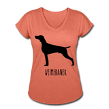 Weimeraner Women's Tri-Blend V-Neck T-Shirt - heather bronze