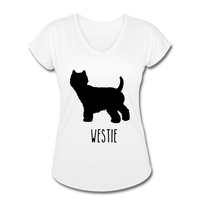 Westie Women's Tri-Blend V-Neck T-Shirt - white