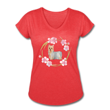 Silky Terrier Women's Tri-Blend V-Neck T-Shirt - heather red