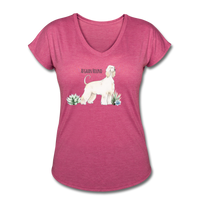 Afghan Hound Women's Tri-Blend V-Neck T-Shirt - heather raspberry