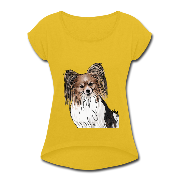 Custom Women's Roll Cuff T-Shirt - mustard yellow