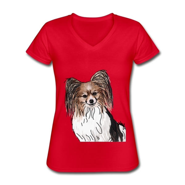 Custom Women's V-Neck T-Shirt - red