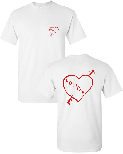 I HEART LOLIPOP RECORDS - WHITE/RED (T-SHIRT)