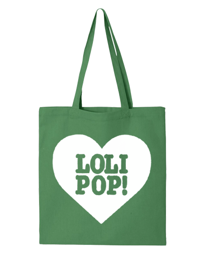 I LOVE LOLIPOP RECORDS - GREEN/WHITE (TOTE BAG)