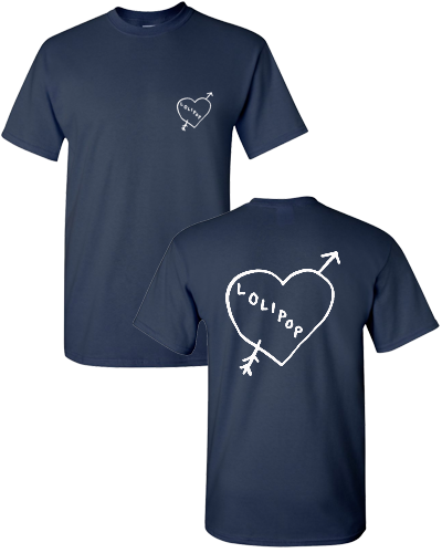 I HEART LOLIPOP RECORDS - NAVY/WHITE (T-SHIRT)