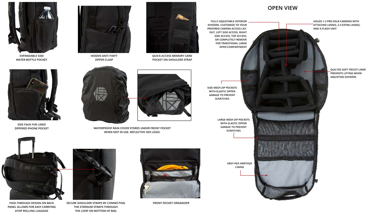 The Ranger Clamshell DSLR Backpack - Details 2