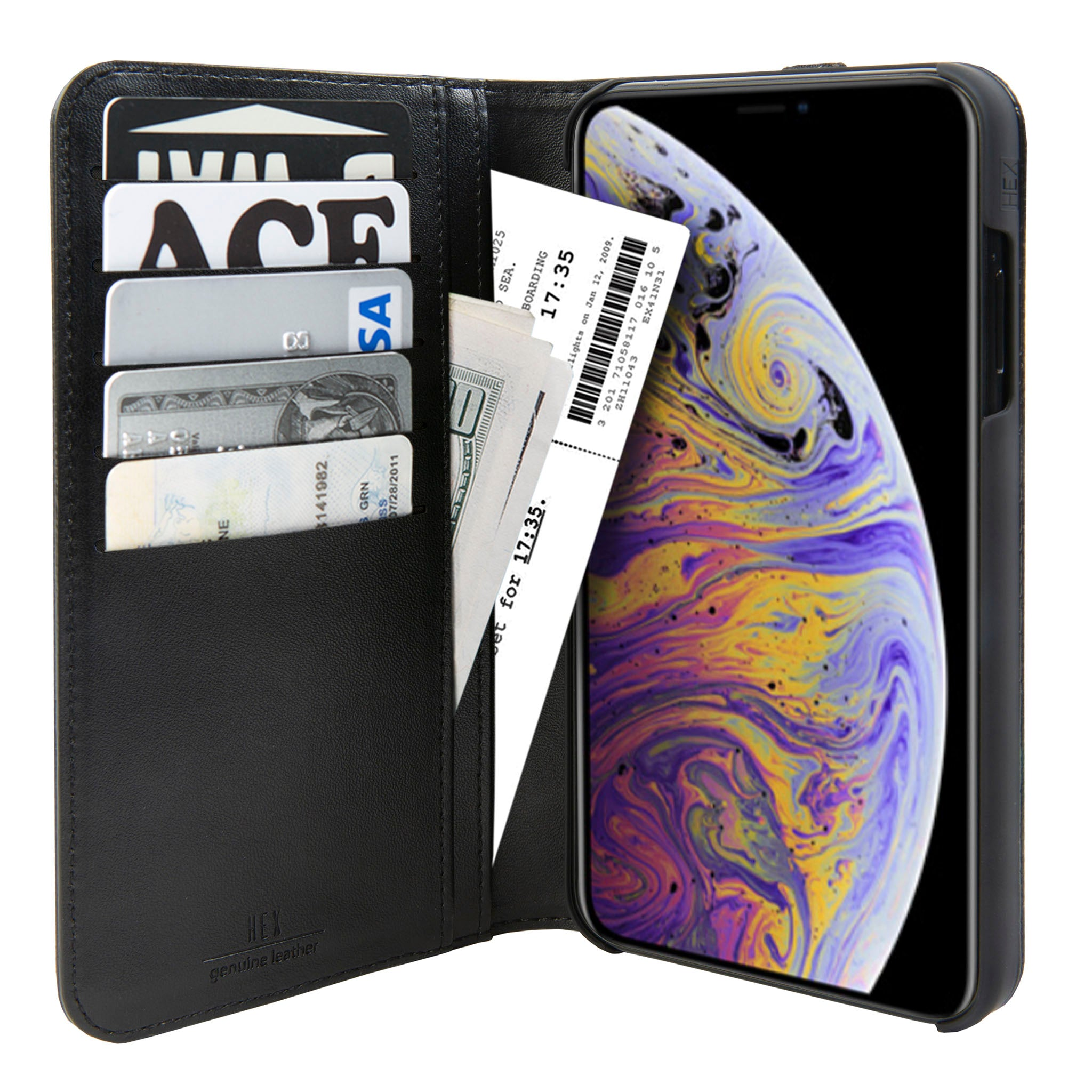 77817701257ec Black Leather Icon Wallet for iPhone Xs Max
