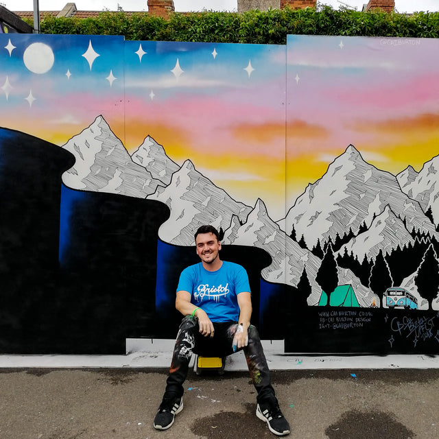 Cai Burton Upfest 2018 Mountain Sunset Mural