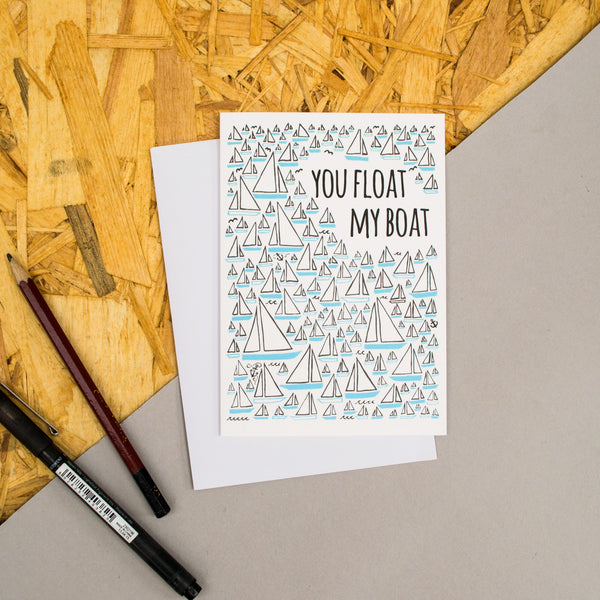 "Sailboat Pattern ""You Float My Boat"" Card"