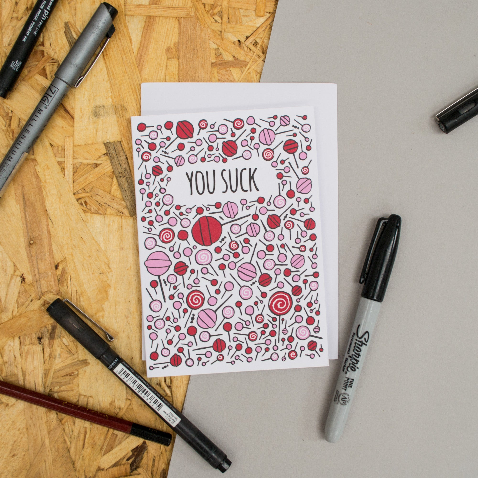 "Lollypop Pattern ""You Suck"" Card"