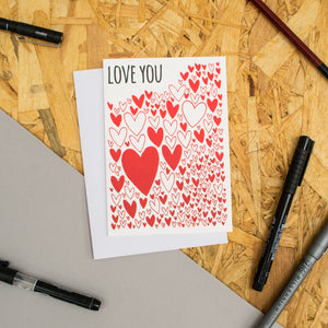 "Hearts Pattern ""Love You"" Card"