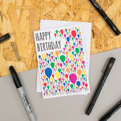 "Balloon Pattern ""Happy Birthday"" Card"