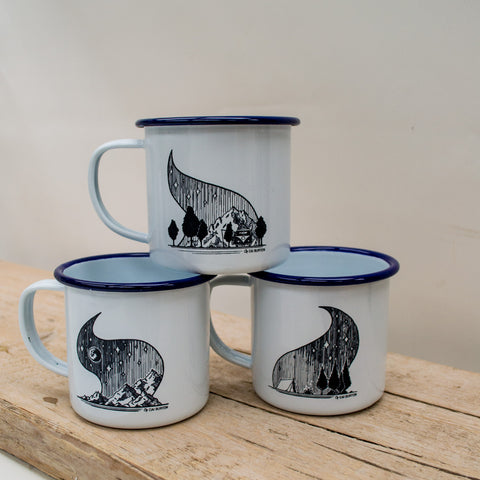 Set of Three Mountain Adventure Enamel Mugs