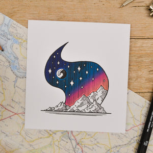 Moonlit Mountains Card - Adventure Series