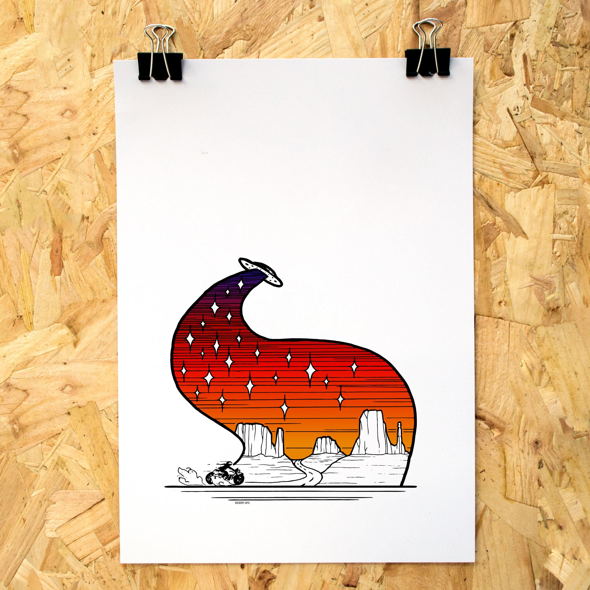 Desert UFO Colour A4 Print - Adventure Series
