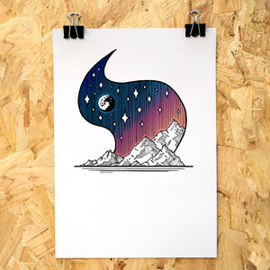 Moonlit Mountains Colour A4 Print - Adventure Series