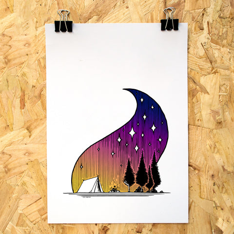 Tent Campfire Colour A4 Print - Adventure Series