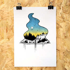 Waterfall Balloon Ride Colour A4 Print - Adventure Series
