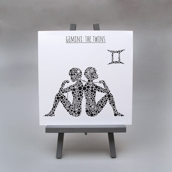 Gemini: The Twins Square 8x8 Zodiac Print