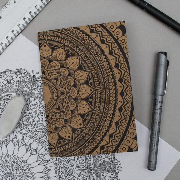 A6 Pocket Notebook - Half Mandala Design