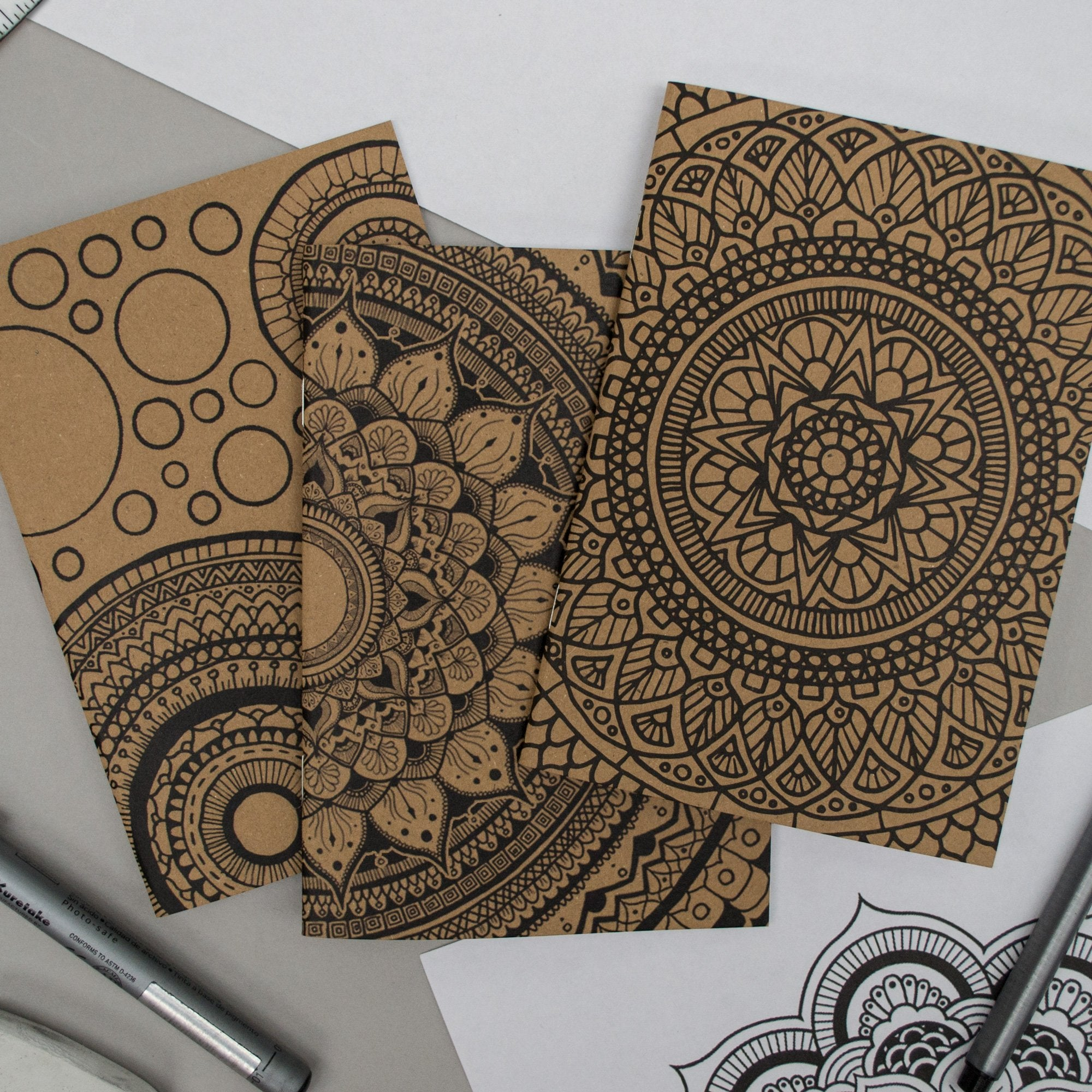 "Set of 3 ""Mandala Madness"" A6 Notebook Pack"