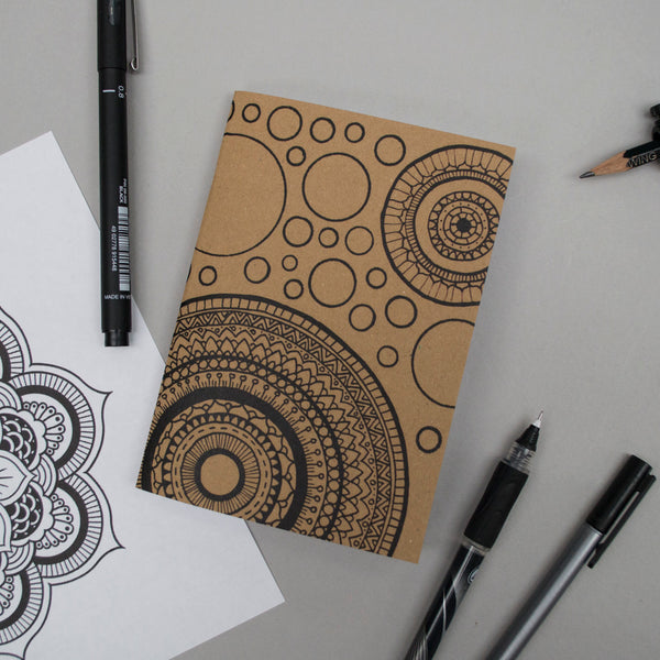 A6 Pocket Notebook - Mandalas and Spots Design