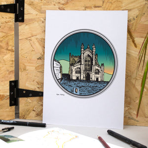 Bath Abbey A4 Print - British Adventures Series