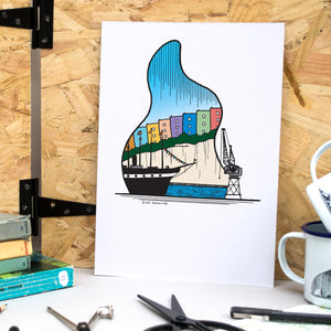 Bristol Harbourside A4 Print - British Adventures Series