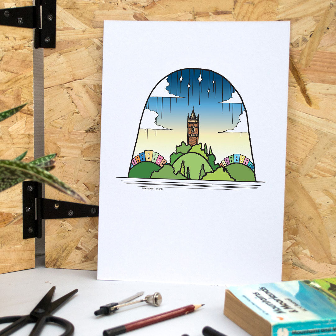 Cabot Tower, Bristol A4 Print - British Adventures Series