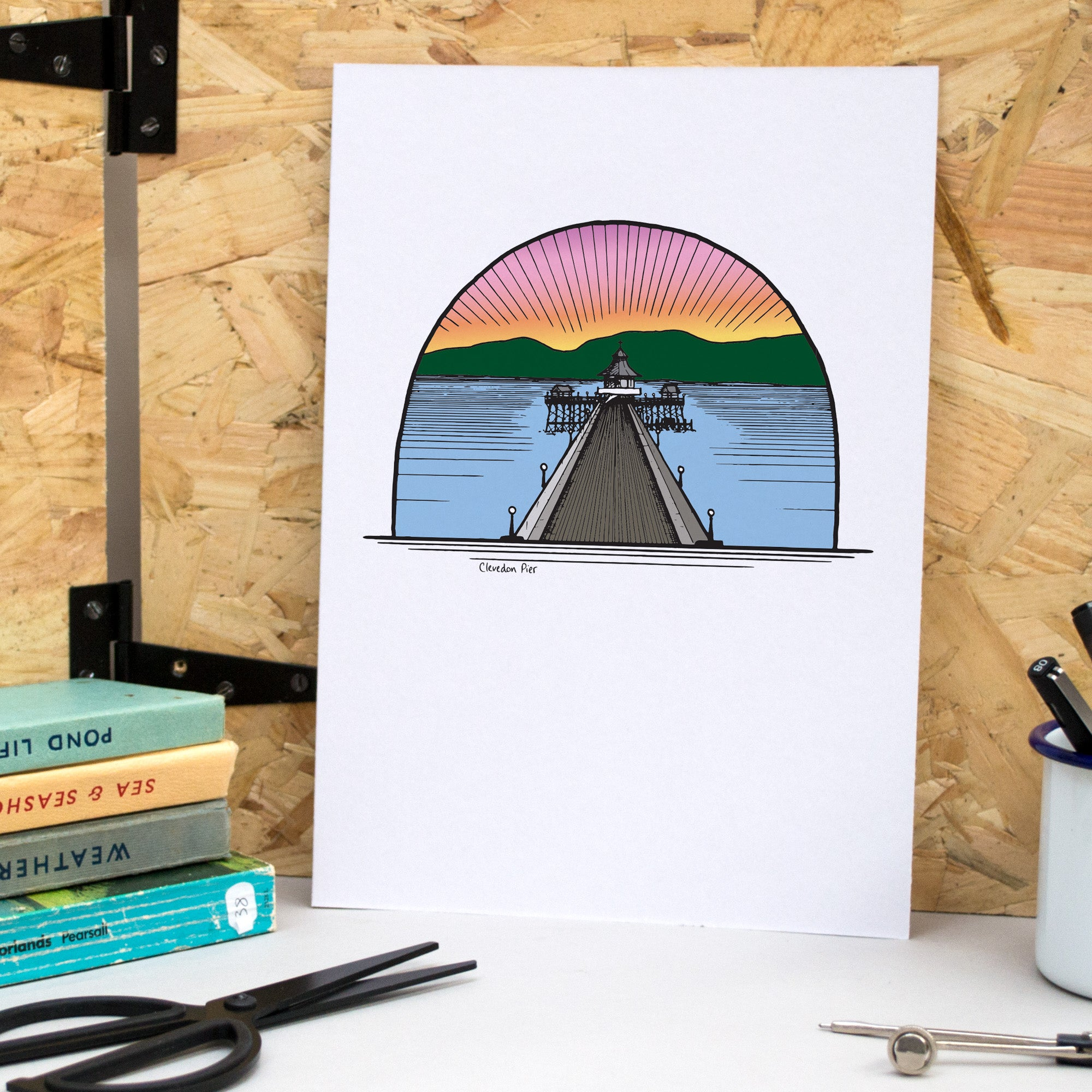 Clevedon Pier A4 Print - British Adventures Series