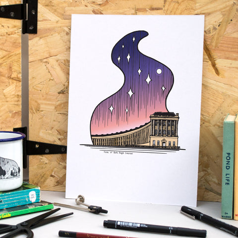 Bath Royal Crescent at Dusk A4 Print - British Adventures Series