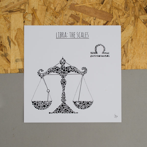 Libra: The Scales Square 8x8 Zodiac Print