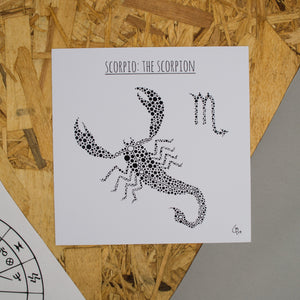 Scorpio: The Scorpion Square 8x8 Zodiac Print