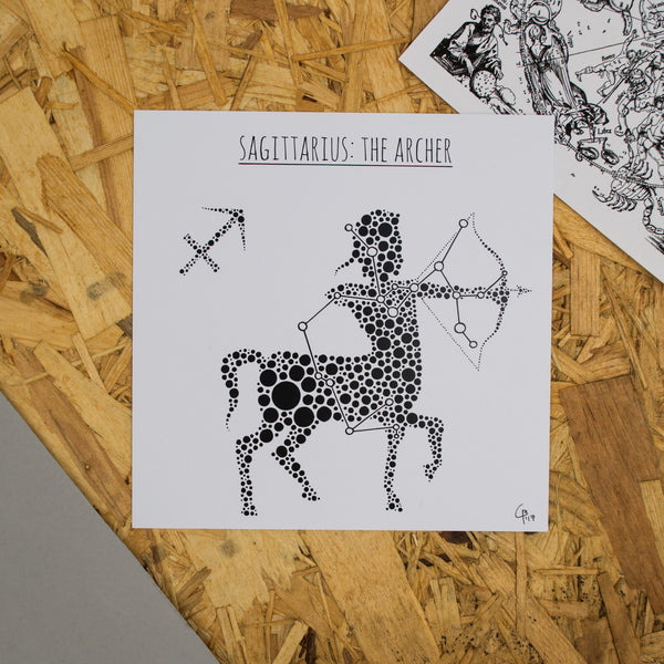 Sagittarius: The Archer Square 8x8 Zodiac Print