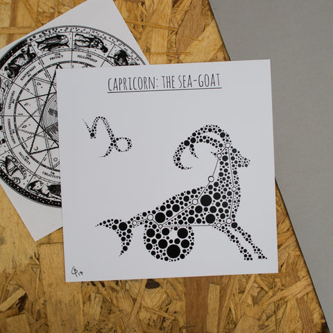 Capricorn: The Sea-Goat Square 8x8 Zodiac Print