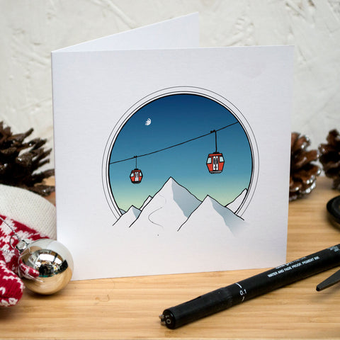 Mountaintop Ski Lift Christmas Card