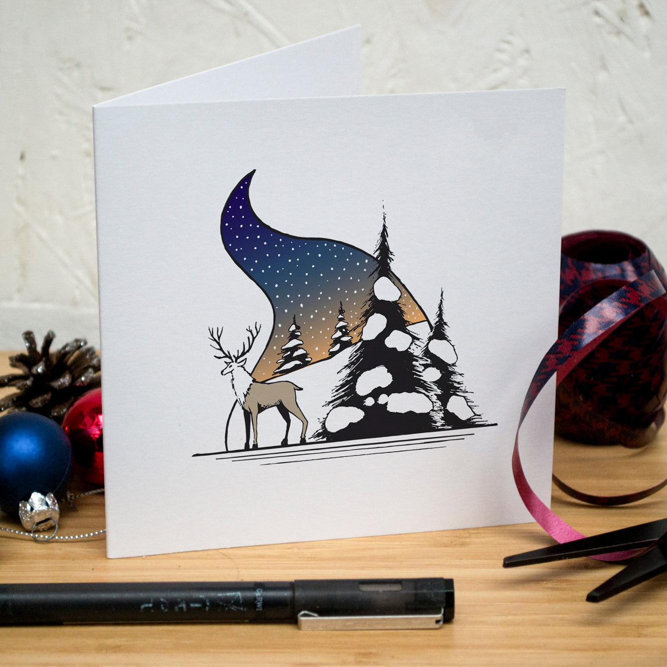 Snowy Stag Christmas Card