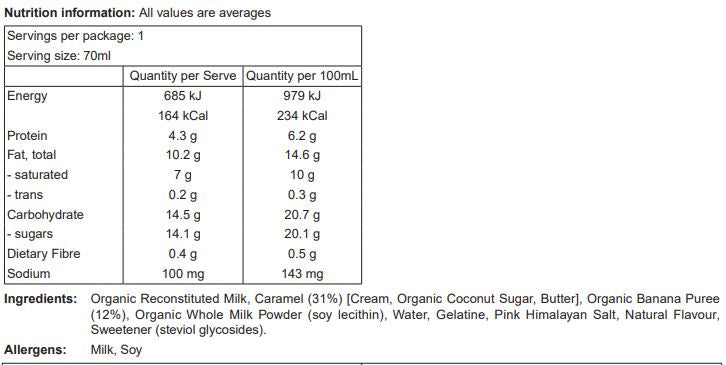 Banoffee Nutritional Panel and Ingredients