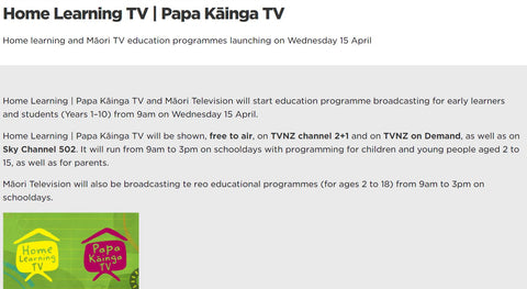 TV Home Learning Schedule