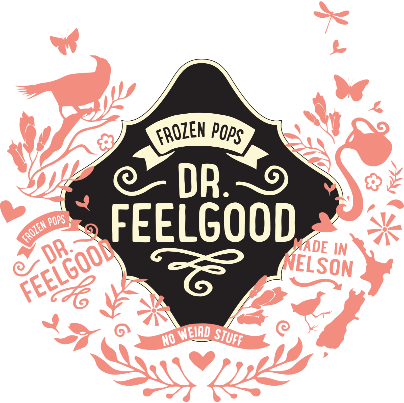 Dr Feelgood Logo with Pink NZ illustrations