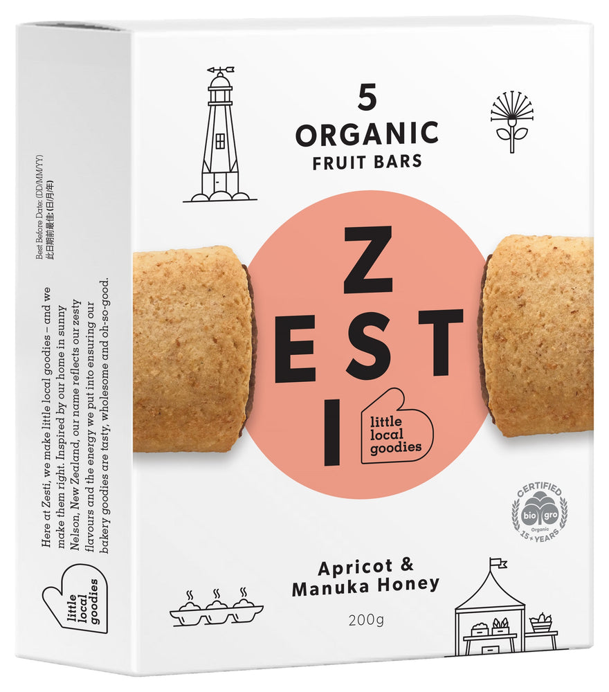 Zesti Organic Fruit Bars Apricot & manuka Honey, peach spot.