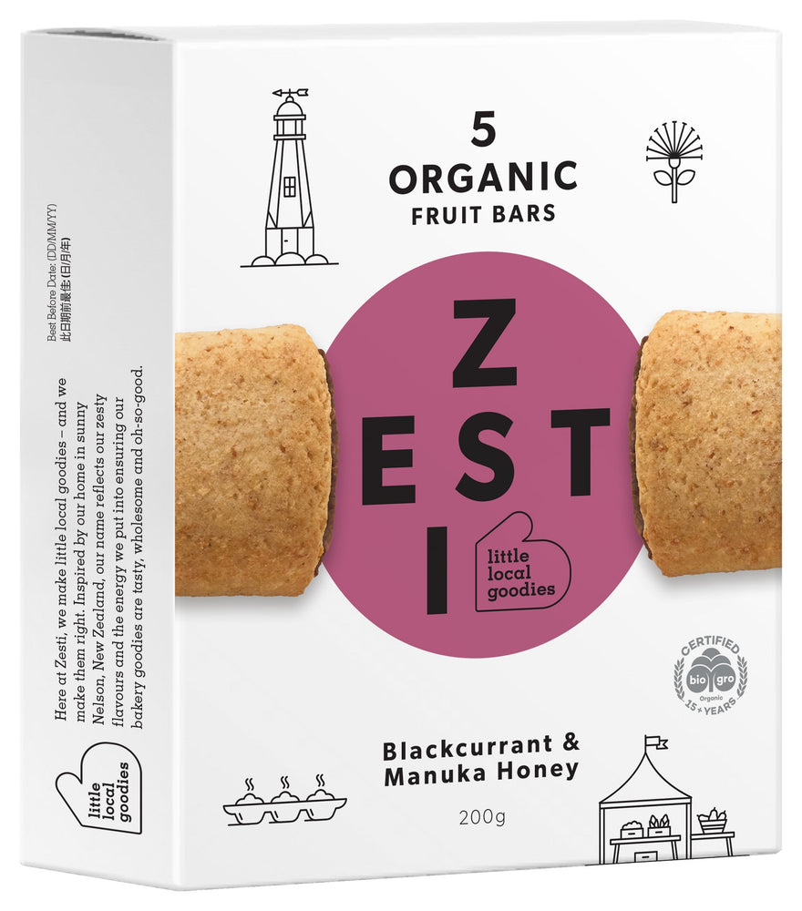 Zesti Organic Fruit Bars Blackcurrant & Manuka Honey Purple spot.