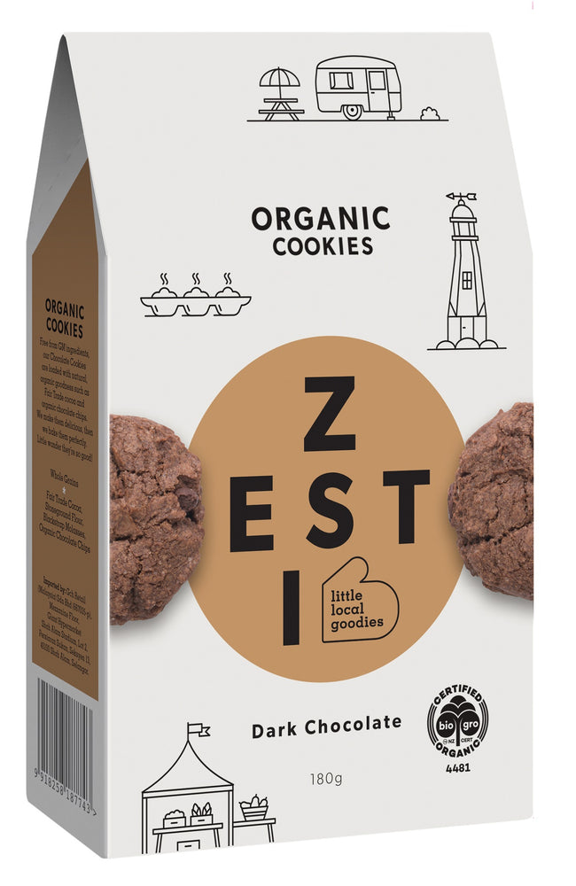 Zesti Organic Cookies Dark Chocolate Brown Spot.