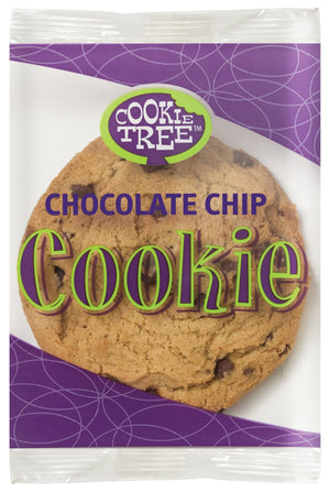 Cookie Tree large Chocolate Chip Cookie individually wrapped clear packaging with purple and green design