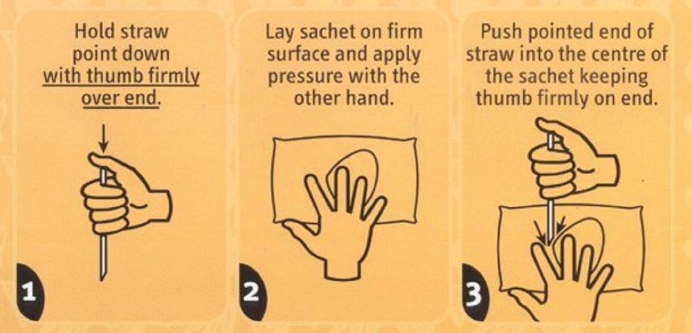 Load image into Gallery viewer, Instructions how to drink Cool Sips. 1. Hold straw point down with thumb firmly over end. 2. Lay sachet on firm surface and apply pressure with the other hand. 3. Push pointed end of straw into the centre of the sachet keeping thumb firmly on end.