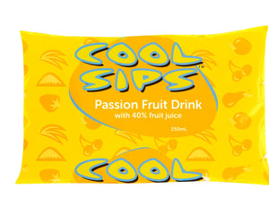 Yellow sachet of Cool Sips Passion Fruit Drink. 90's packaging design.