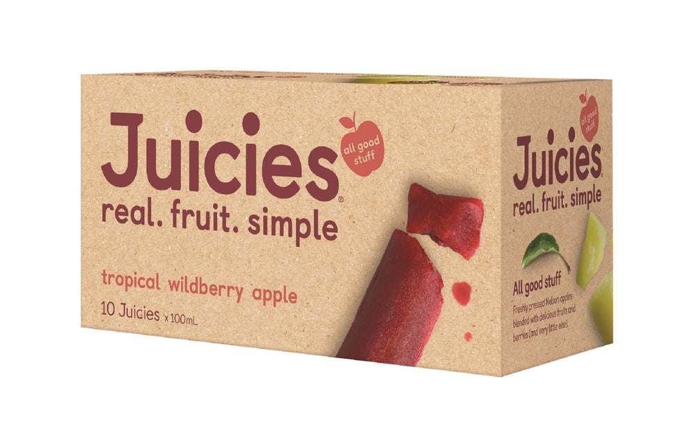 Juicies Multipack box. Juicies real. fruit. simple. Apple with all good stuff. 10 Juicies x 100mL Tropical, Wildberry, Apple.  Ice Bar, popsicle.
